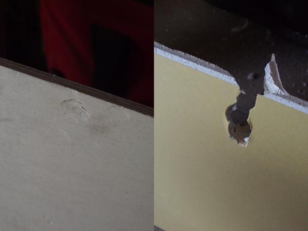合板と石膏ボードの比較-叩いた様子