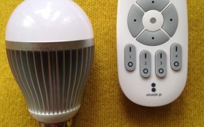 リモコンで作動するLED電球(入切調光、調色)