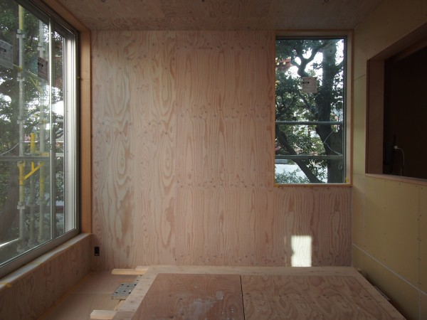 西壁の構造用合板リボスカルデッドホワイト2回塗り